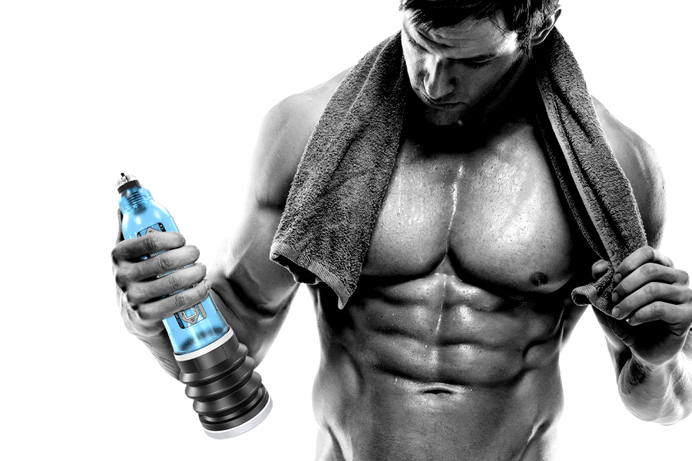 man holding penis pump